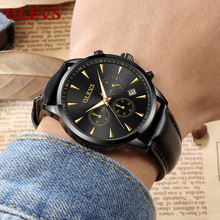 2019 OLEVS Top Brand Luxury Men's Watch Leather strap Waterproof Date Clock Male Sports Watches Men Quartz Casual Wrist Watch купить недорого в Москве