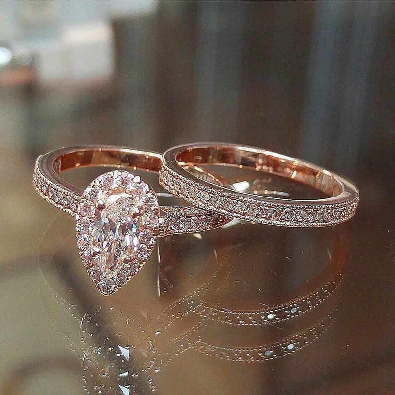 Huitan Aaa Zircon Stone Micro Verharde Bridal Ring Sets Romantische Rose Goud Serie Engagement Ringen Groothandel Veel & Bulk Midi ringen