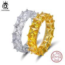 ORSA JEWELS реальные 925 пробы Серебряные кольца для Для женщин Для мужчин Обручение и обручальное AAA CZ модные праздничные ювелирные изделия SR48