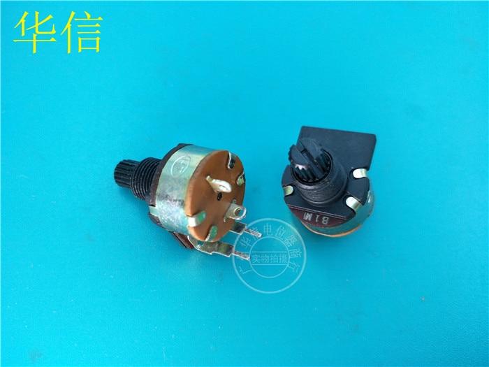 6 шт., вращающийся потенциометр типа HT 149 B1M с переключателем/черная ручка 15 мм/ось цветов 2 фута