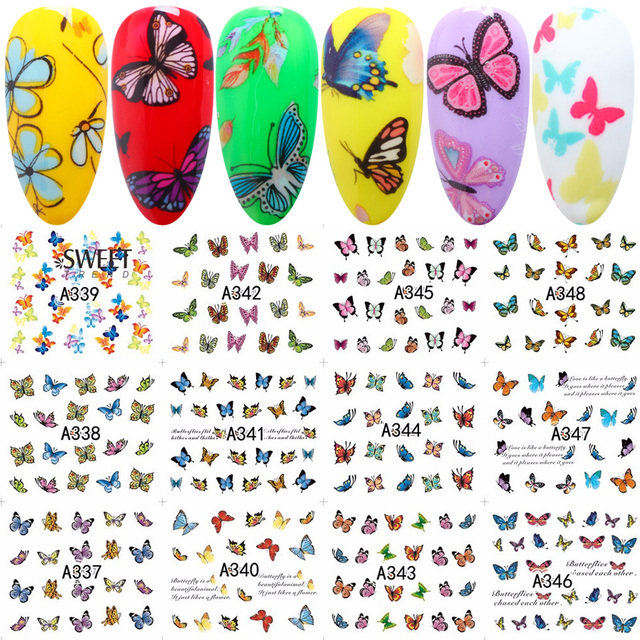 12 Designs in 1 Sweet Butterfly Nail Wraps Nail Art Stickers Polish Watermark Nail Decals Decoration Manicure Tools LAA337 348