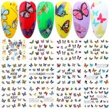 Envolturas para uñas de mariposa, 12 diseños en 1, pegatinas para manicura, LAA337 348