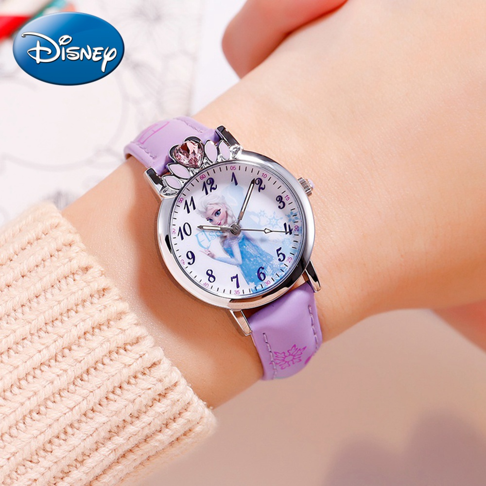 Disney Princess Series Frozen Elsa Girls Pink Blue Purple Luxury Rhinestone Quartz Watches Child Simple Waterproof Clock Student