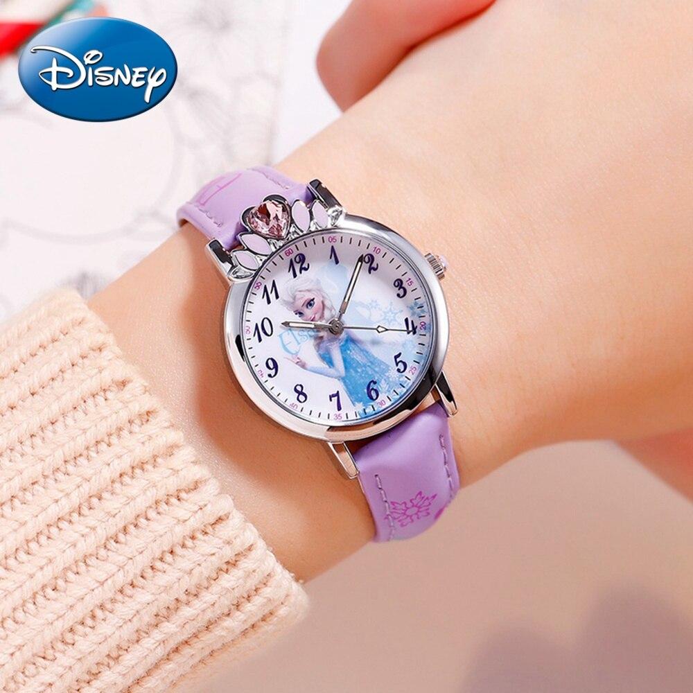 Disney Princess Series Frozen Elsa Girls Pink Blue Purple Luxury Rhinestone Quartz Watches Child Simple Waterproof Clock Student