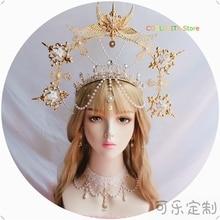 Crown Headband Sun-Halo Lolita Gothic-Style Tiara Angle-Devil Cosplay Goddess Vintage