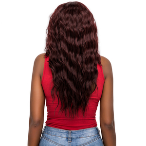 Image 3 - Lace Front Synthetic Hair Wigs Middle Part 99J Red Color X TRESS 20inch Long Soft Natural Wave Trendy Lace Wig For Black Women
