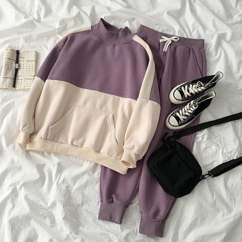 Winter Sprint Patchwork Pant Set Women Casual High Collar Loose Sweatshirt + High Waist Drawstring Trousers Cotton Matching Set