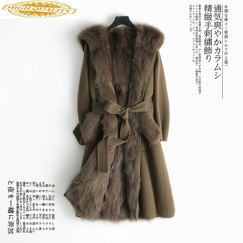 Real Fur Coat Female Natural Fox Fur Liner Wool Coat 2020 Winter Jacket Women Woolen Coats Korean Long Jackets MY3913