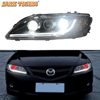 JAZZ TIGER Car Styling LED DRL Red Devil Eyes Halogen Turn Signal Head Lamp Assembly LED Headlight For For Mazda 6 2003 2012