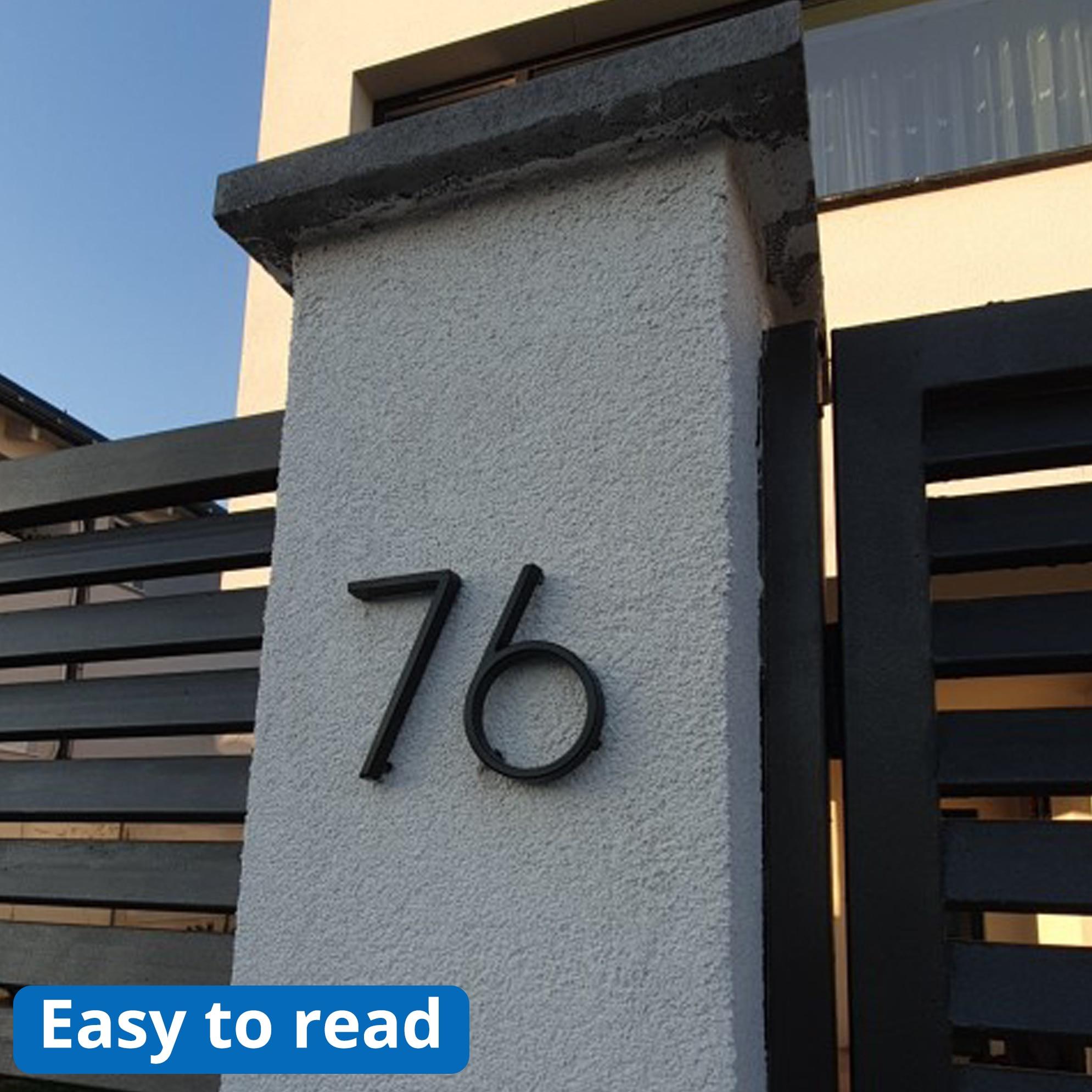 Купить с кэшбэком 125mm Floating House Number Letters Big Modern Door Alphabet Home Outdoor 5 in.Black Numbers Address Plaque Dash Slash Sign #0-9