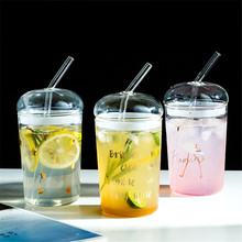 Glass Sippy Cup Transparent Straw Cup with Lid  Home 500ml Coffee Tea Milk Juice Bottle Student Portable Water Mugs Drinkware embossed peach heart glass japanese cherry petal water cup loving milk water cup fruit juice cold drink transparent coffee cup