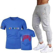 New men's cotton casual alphabet printing short-sleeved T-shirt + pants youth popular round neck T-shirt fashion T-shirt set цена и фото