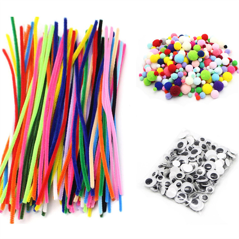 30/50/100pc Colorful Chenille Stems Plush Stick Pipe Cleaners DIY Art Crafts Pompoms Children Toys Doll Kids Handicraft Material(China)