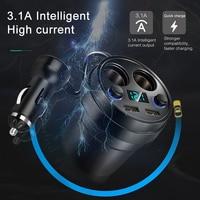 Cargador de coche con 2 USB DC/3.1A 5V, adaptador de toma de corriente, encendedor de cigarrillos, divisor de cargadores de teléfono móvil con pantalla LED de voltaje