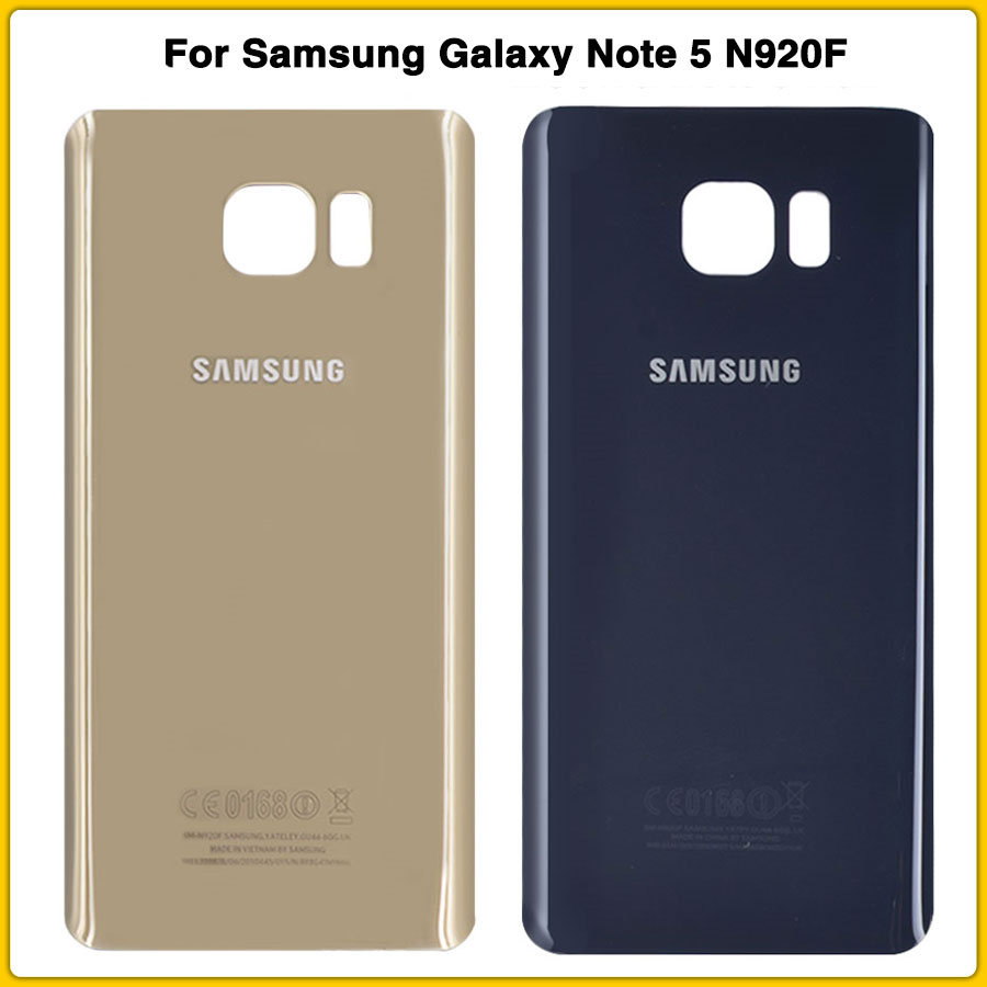 New Note5 Rear Housing Case For Samsung Galaxy Note 5 N920 N920F Battery Cover Door Rear Chassis Glass Replacement