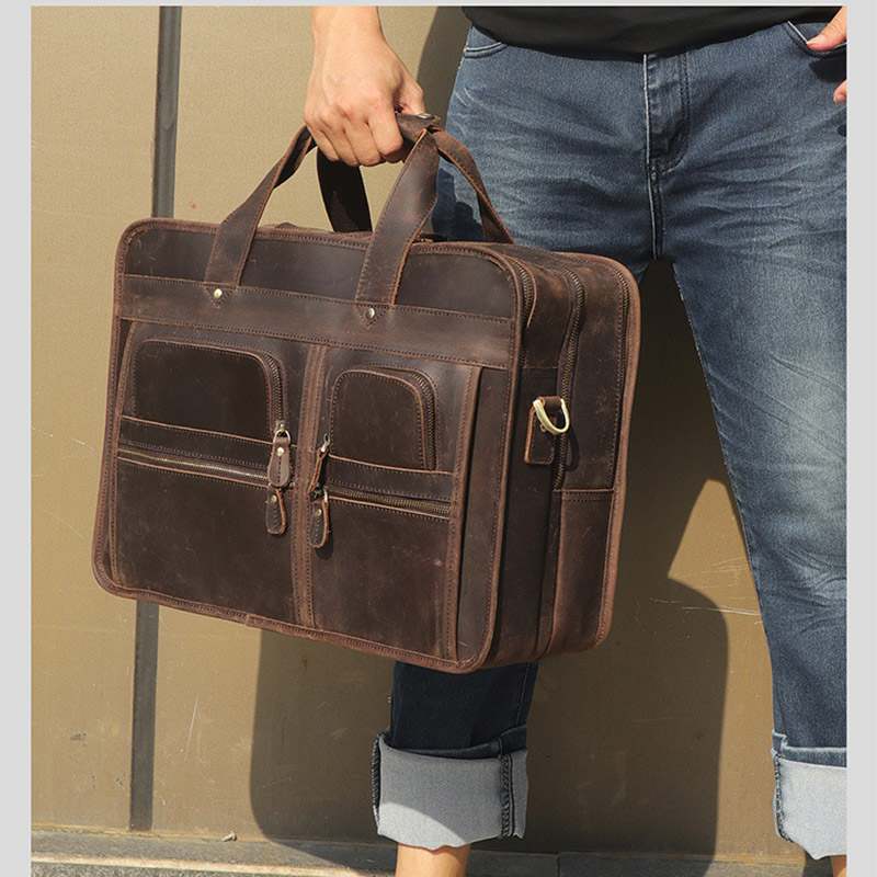 J.M.D Mens Genuine Cow Leather Briefcase Handbag 15 Inches Laptop Messenger Bag