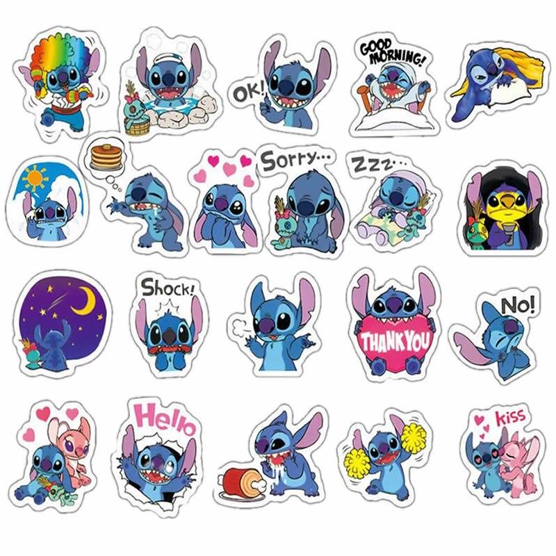 10/30/50pcs Pack Cartoon Anime Stitch Stickers Waterproof PVC Skateboard Luggage Motorcycle Guitar Vsco Girl Kids Toys Sticker