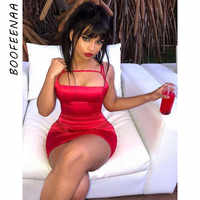 BOOFEENAA Satin Silk Bodycon Dress Spaghetti Strap Mini Sexy Club Dress Red Black Women Dresses Evening Party Summer C86-I93