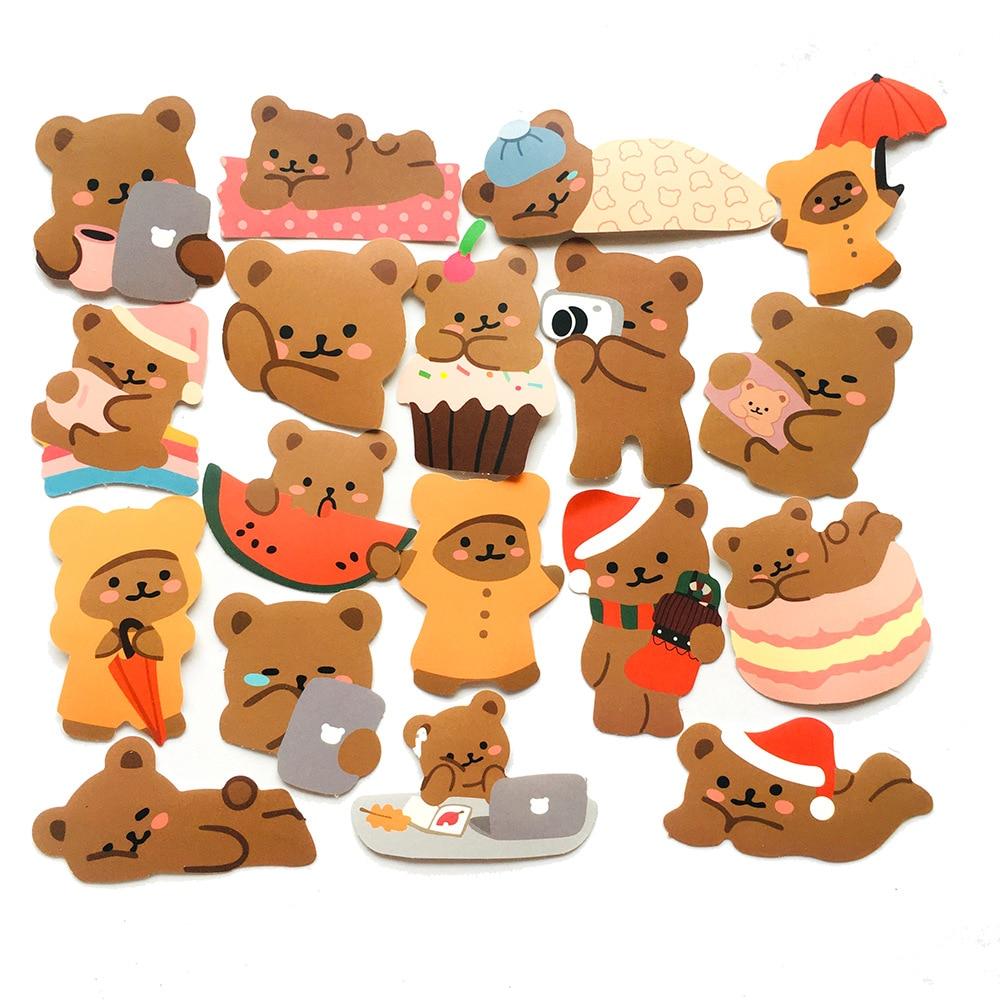60 fogli creativo carino Mini orso adesivo di carta diario di natale Scrapbooking etichetta adesiva adesivi di cancelleria coreana Kawaii