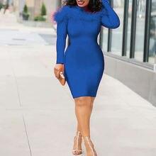 Синий элегантное узкое женское платье с длинными рукавами высоким