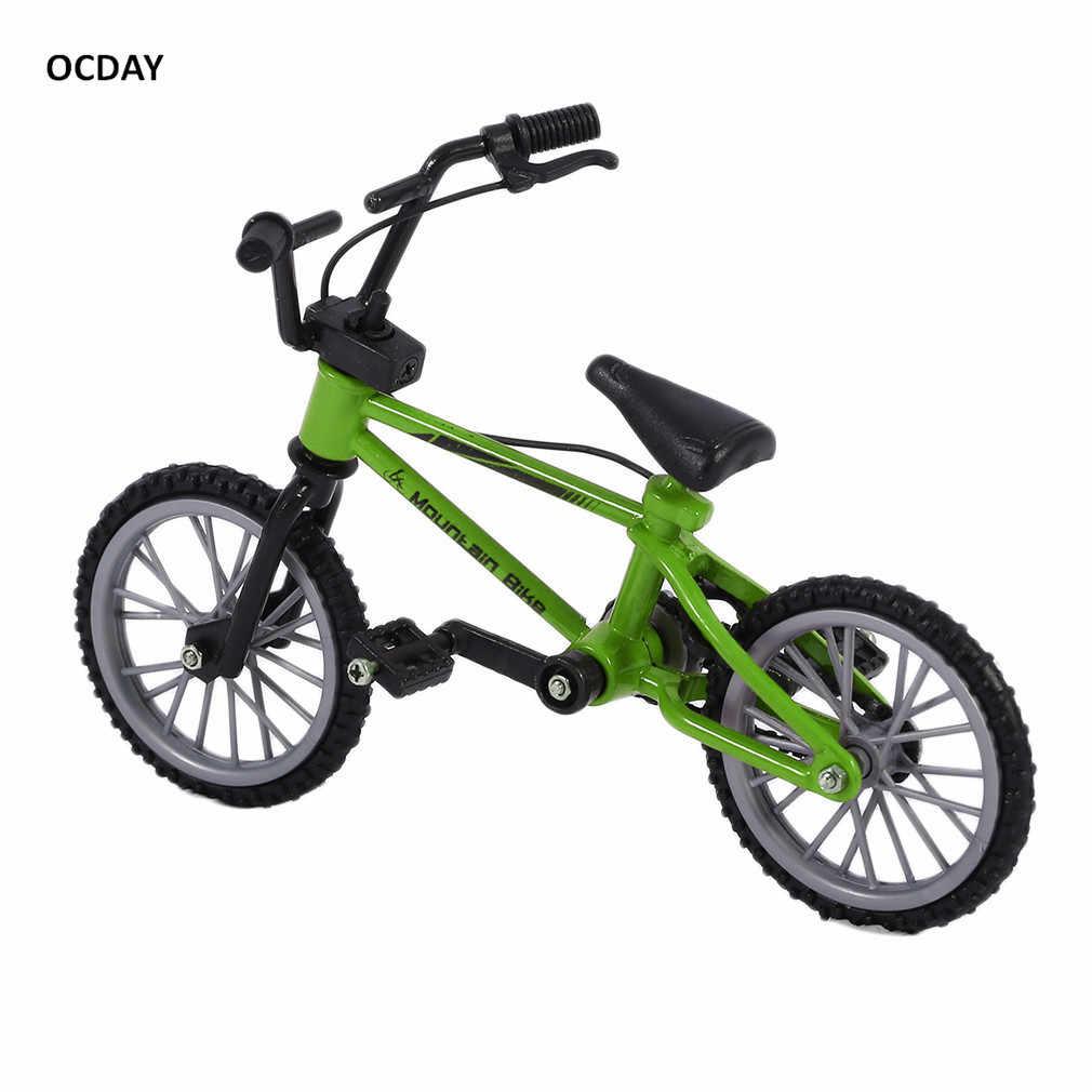 OCDAY In Lega di Simulazione Finger bmx Moto Da Cross Per Bambini Mini Size Verde fingerboard Giocattoli bicicletta Con Freno Corda Regalo Divertente
