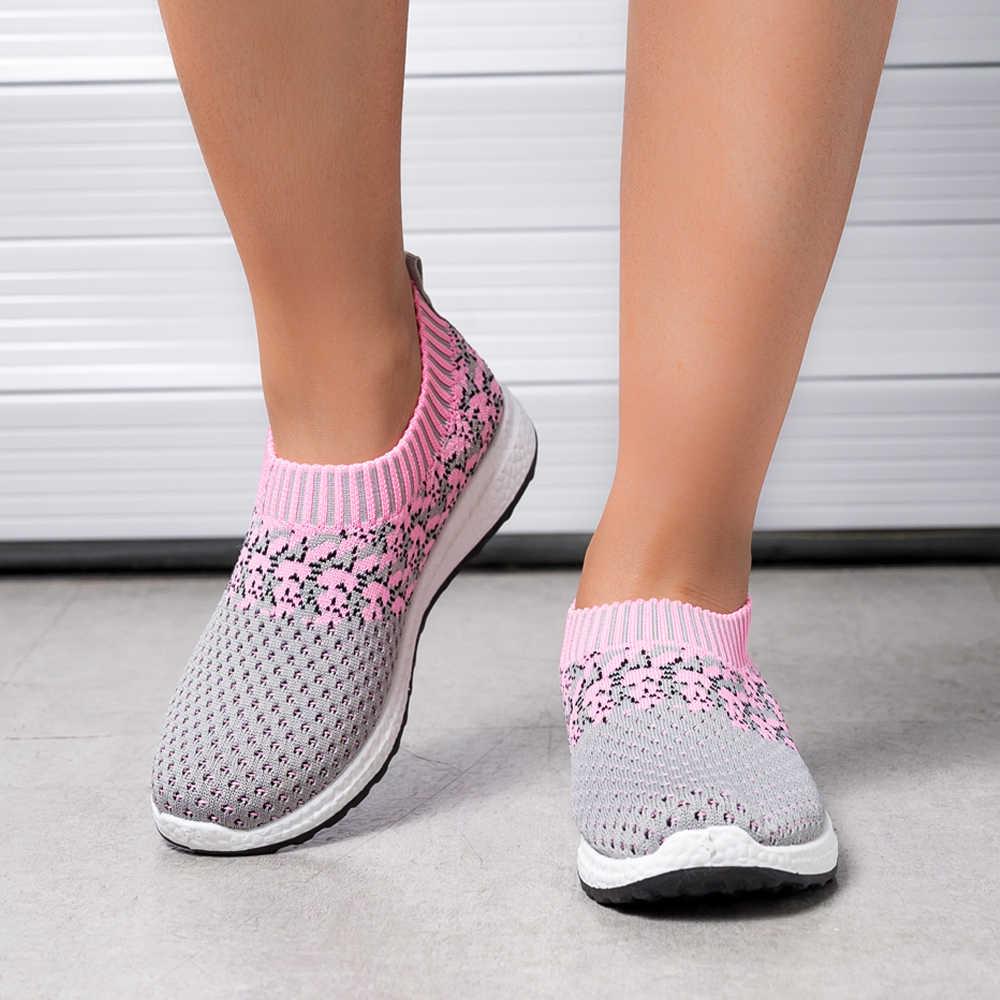여름 여성 운동화 Vulcanized 신발 양말 운동화 여성 슬립 플랫 신발 여성 플러스 사이즈로 퍼스 숙녀 신발