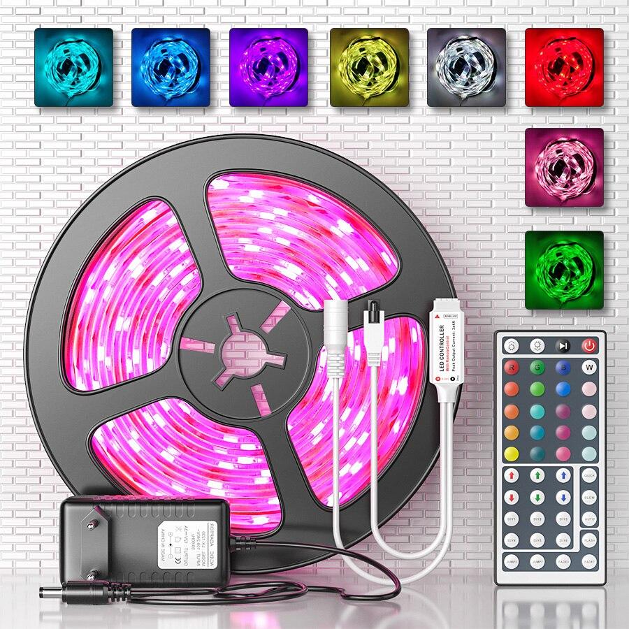LED Strip Light RGB SMD 5050 LED Flexible Ribbon Fita Led Lights Strip RGB 5M 10M 15M Tape Diode DC 12V+ Remote Control +Adapter