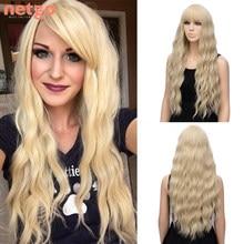 Netgo длинные волнистые блонд синтетические парики с челкой розовый черный парик термостойкие волоконные парики для женщин Косплей вечевече...