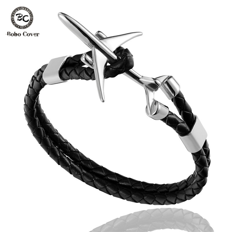 Multi Layer Genuine Leather Airplane Anchor Bracelet Men Women Engraving Stainless Steel ID Bracelets Male Lucky Gifts Pulseira