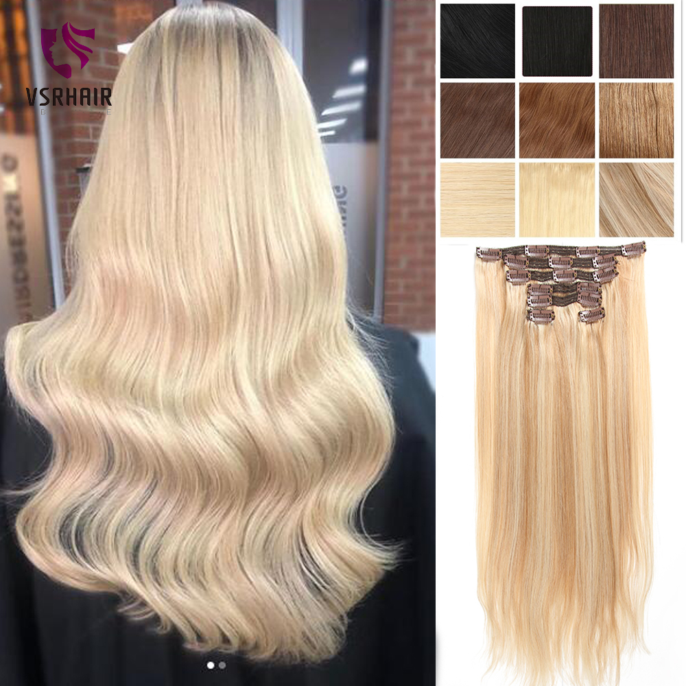 VSR European Blonde Straight Machine Made Remy 7 Pcs Clip In Hair 100% Human Hair Full Head Set Extensions For Women