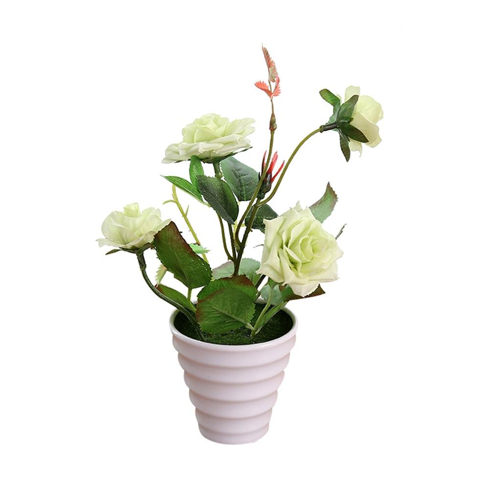 Пластиковые искусственные цветы с розами искусственный бонсаи цветы поддельные цветы вечерние Свадебные украшения Аксессуары для ванной комнаты - Цвет: Зеленый