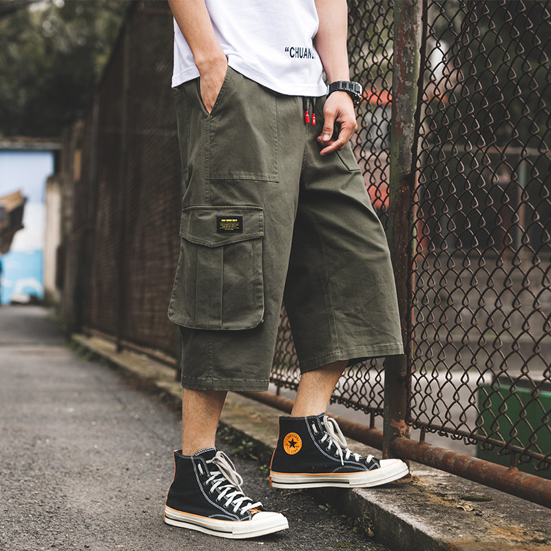 Ancient Also MEN'S Casual Pants Men's 2019 New Style Summer Straight-Cut Bib Overall Loose-Fit Capri Pants Fashion Man Pants