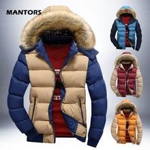 Sıcak aşağı ceket erkekler kış Parkas kürk kapşonlu palto sonbahar kalın fermuar Parka giyim rahat erkek giysileri katı Hoody ceketler