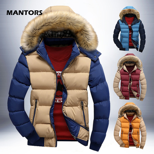 Image 1 - Warm Down Jacket Mens Winter Parkas Fur Hooded Coats Autumn Thick Zipper Parka Outerwear Casual Men Clothes Solid Hoody Jackets