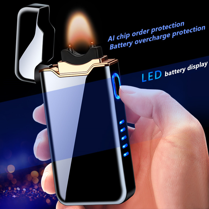 2020 New Ignition Arc Electronic USB Electric Flame  Lighter Metal Gift AI Charge Protection  Cigar Lighters