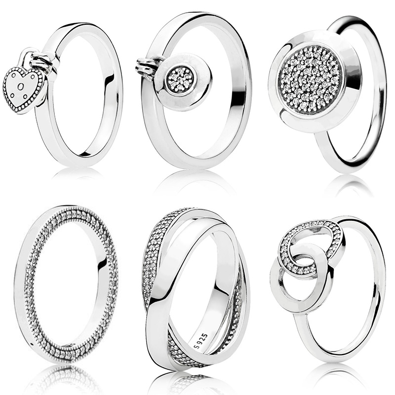 6 Style Women 925 Silver Color Rings Jewelry Logo Signature With Crystal Pan Heart Pendant Ring For Women Jewelry