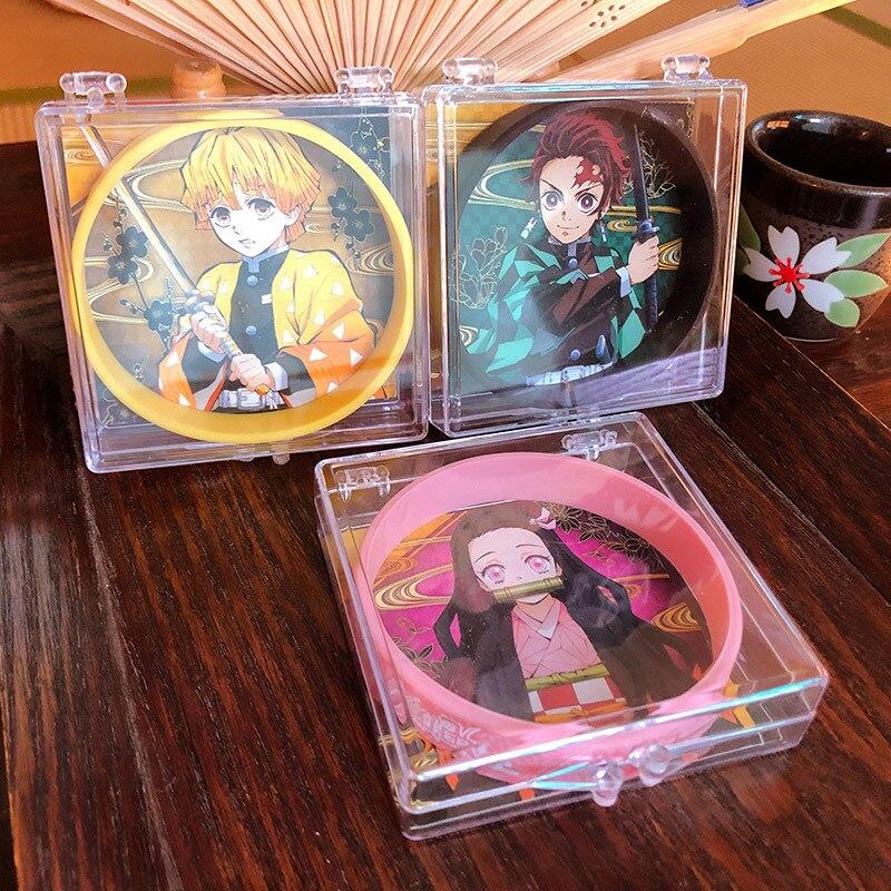 Anime demonio asesino Kimetsu no Yaiba Cosplay accesorios pulseras de silicona Tanjirou Nezuko Zenitsu tema Anti-mosquitos pulsera deporte