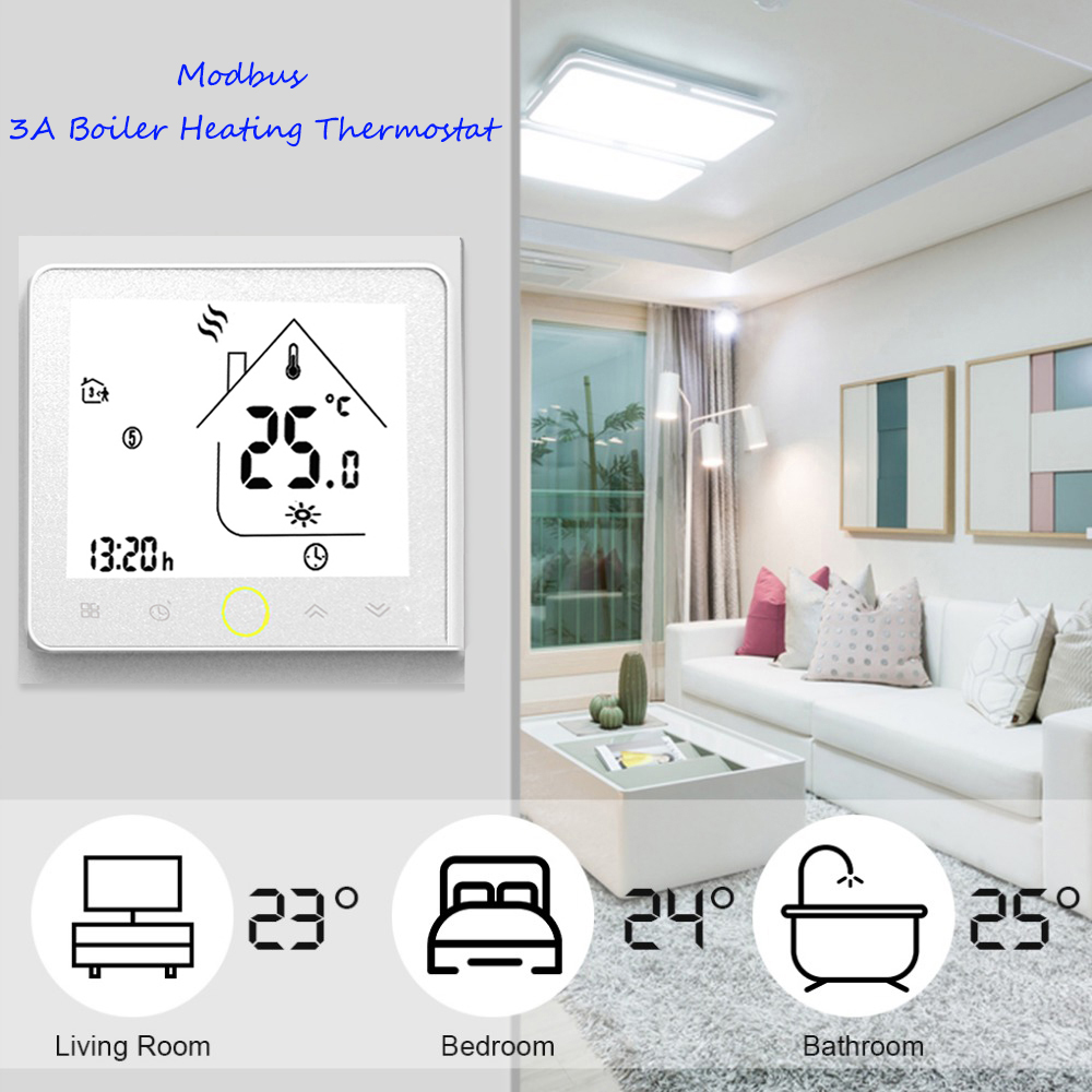 Modbus Thermostat Alec Panel Boiler Heating Thermostat Programmable LCD Touch Screen NTC Sensor Home Room Temperature Controller