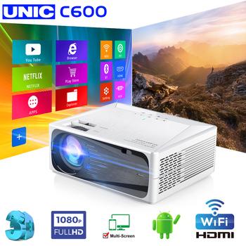 UNIC C600 natywny projektor HD 1080p projektor LED 1280x720P wideo 3D bezprzewodowy WiFi wieloekranowy Beamer kino domowe PK CP600 tanie i dobre opinie Instrukcja Korekta Projektor cyfrowy Ue wtyczka Us wtyczka Au plug Wtyczka uk 4 3 16 9 Focus Brak 30-300 cali 2000 01 00