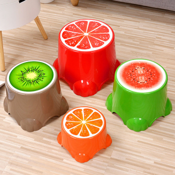 Fruit Pattern Plastic Stool Non-slip Round Bath Bench Children Stools Changing Shoes Stool Baby Kids Furnitur Home