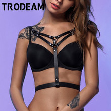 TRODEAM Sexy Leather Harness Straps Punk Goth Body Bondage Belt Cage bra harness Erotic Waist Band Chest Wrap Stocking Belts Sek fullyoung sexy women leather belts sculpting slim body bondage cage fashion punk harness waist straps suspenders belt