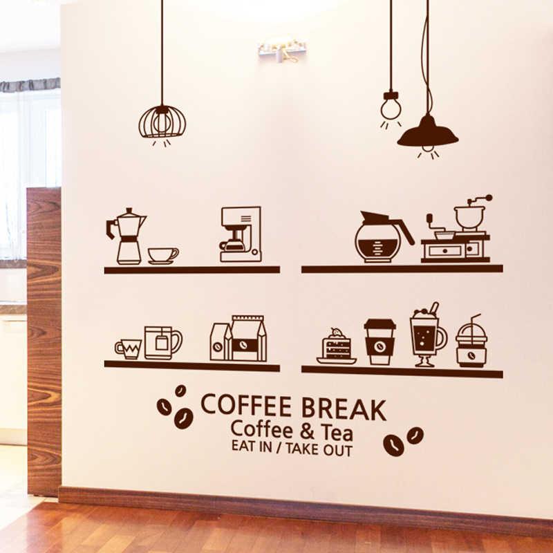 Lait thé café cafés crème glacée pain gâteau cuisine mur Art autocollant décoration pour la maison bricolage Mural décor