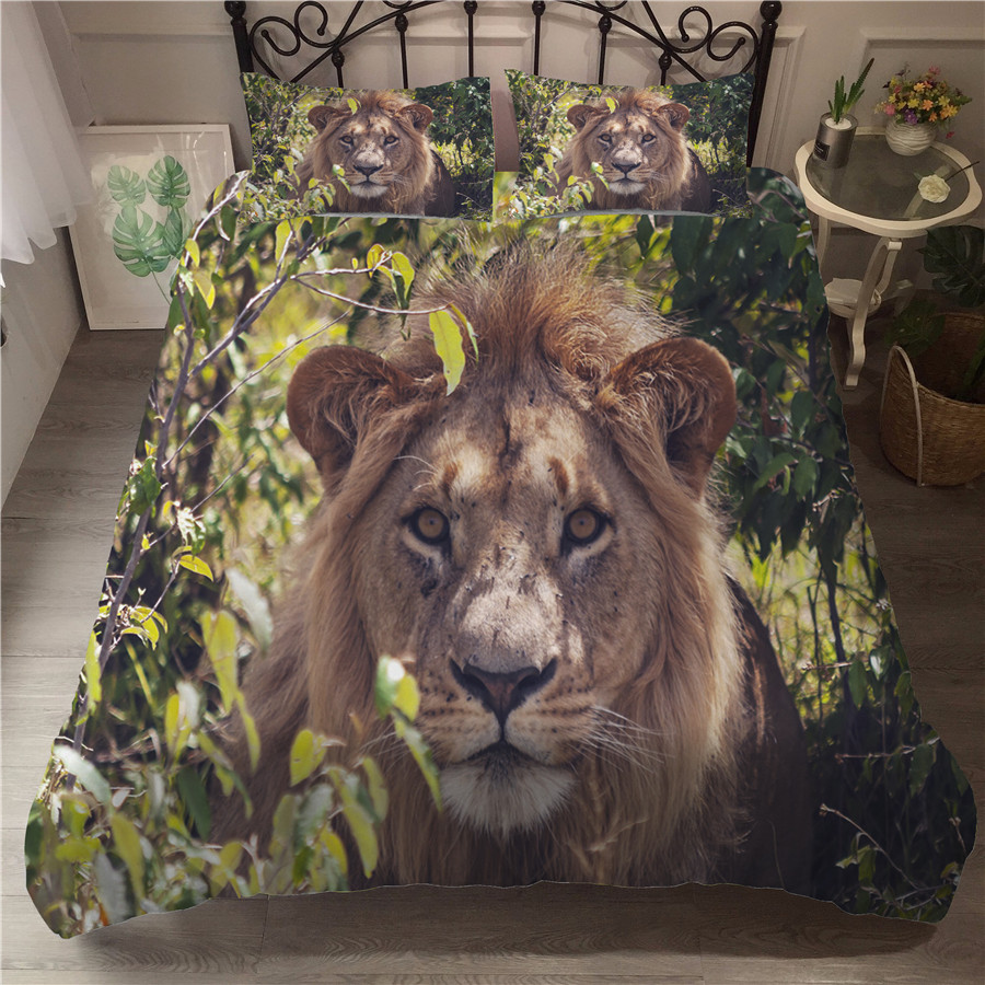 A Bedding Set 3D Printed Duvet Cover Bed Set Lion Home Textiles For Adults Bedclothes With Pillowcase #SZ05