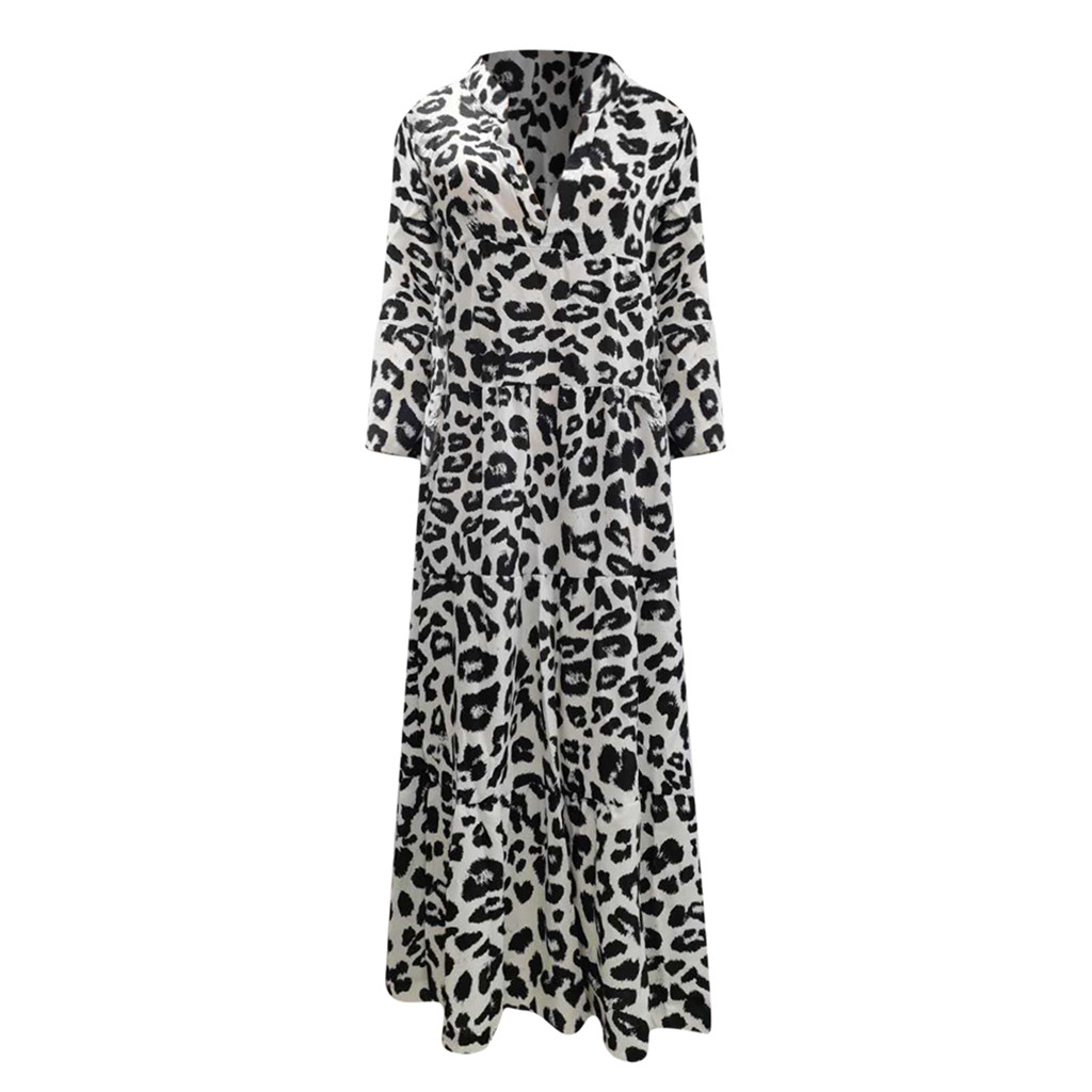 платье 2021  Hepburn Style Women Long Maxi Dress V Neck Leopard Print Flare Sleeve Dress Vintage Beach Party Dress Vestido