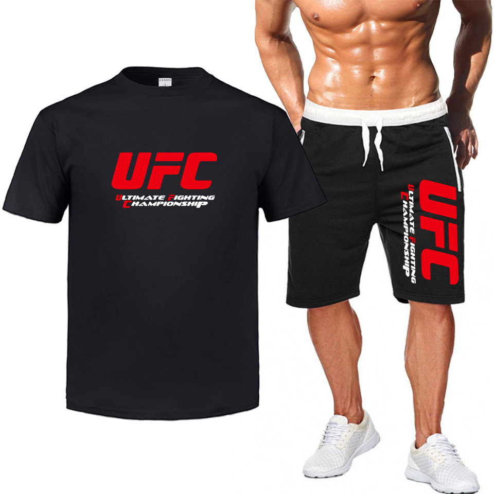 Ufc Europe And America Fighting Ultimate Fighting Short Sleeve Casual Mma Men's T-shirt Sports Shorts Set