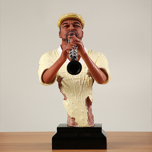 Abstract Pub Clarinet Player Bust Handmade Resin Instrumentalist Statue Musician 2