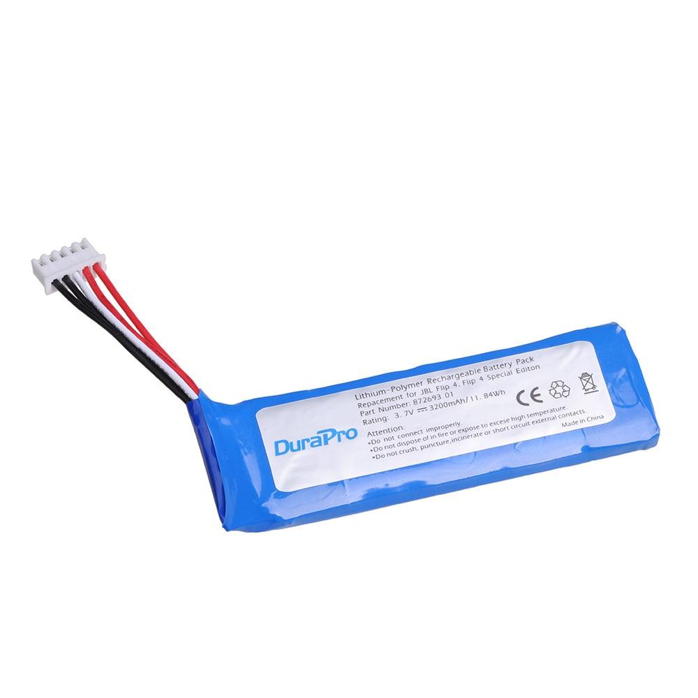 Durapro 2 pc 3.7 v 3200 mah bateria gsp872693 01 bateria recarregável para jbl flip 4