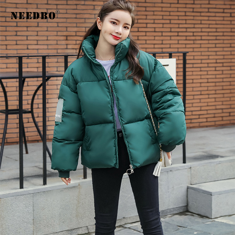 NEEDBO Winter Jacket Women Plus Size Loose Casual Woman Winter Coats and Puffer Jackets Short Padded Stand Collar   Parka   Outwear