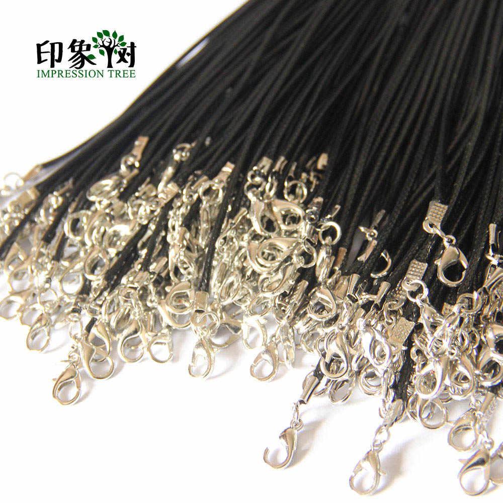 1 sztuk 1.5/2mm czarny skórzany sznur wosk Rope Chain naszyjnik 42cm + 4cm przedłużka do łańcuszka karabińczyk DIY biżuteria akcesoria 479