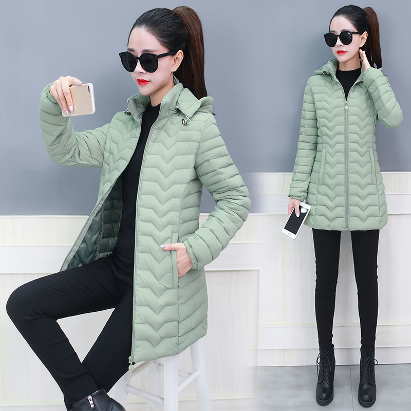 Mid-length Down Jacket Cotton-padded Clothes Women's 2019 New Style Korean-style Slim Fit Hooded Fashion Pink Cotton Overcoat Wi
